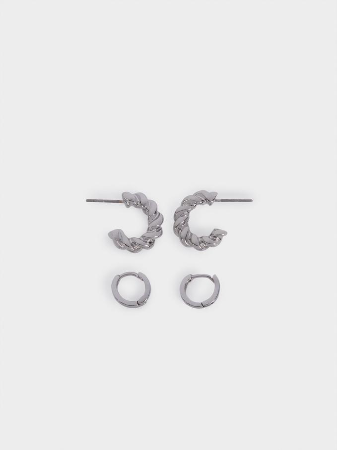Braided Hoop Earrings Set, Silver, hi-res