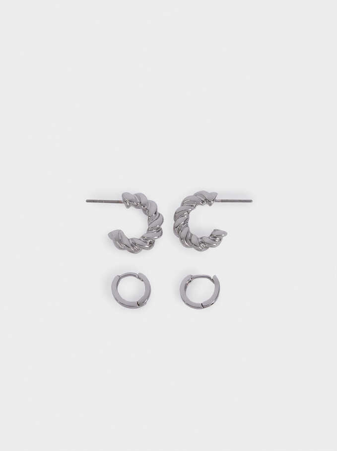 Braided Hoop Earrings Set, Silver, hi-res