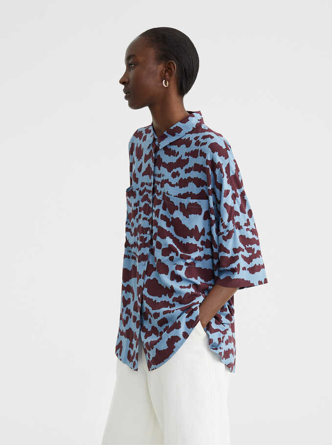 Flowing Animal Print Shirt, Blue, hi-res