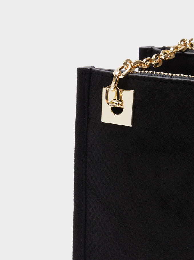 Textured Suede Crossbody Bag, Black, hi-res