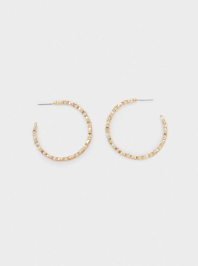 Link Hoop Earrings, Golden, hi-res