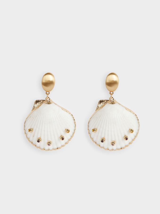 Long Shell Earrings, Multicolor, hi-res