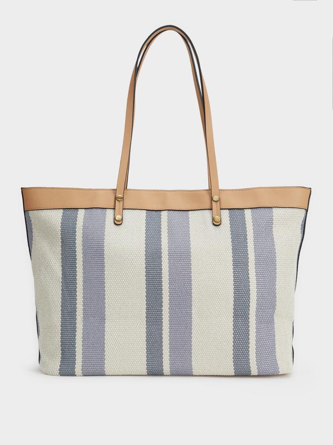Striped Tote Bag, Blue, hi-res