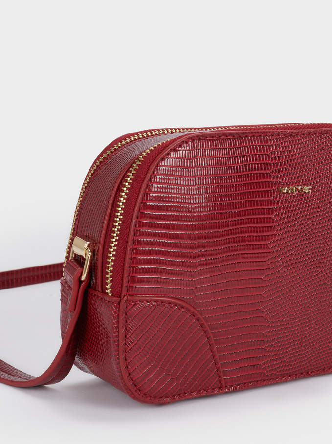 Crossbody Bag With Embossed Animal Print, Red, hi-res