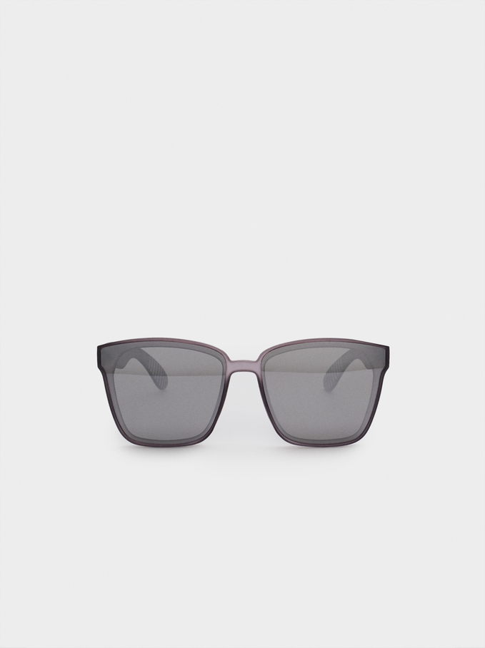 Sunglasses With Square-Cut Frames, Violet, hi-res