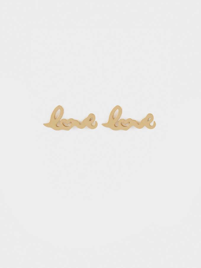 Boucles D'Oreilles Courtes En Acier Love, Doré, hi-res