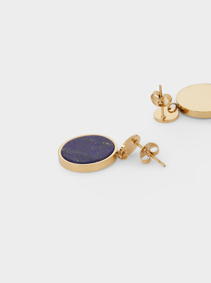 Steel Earrings With Stone, Blue, hi-res
