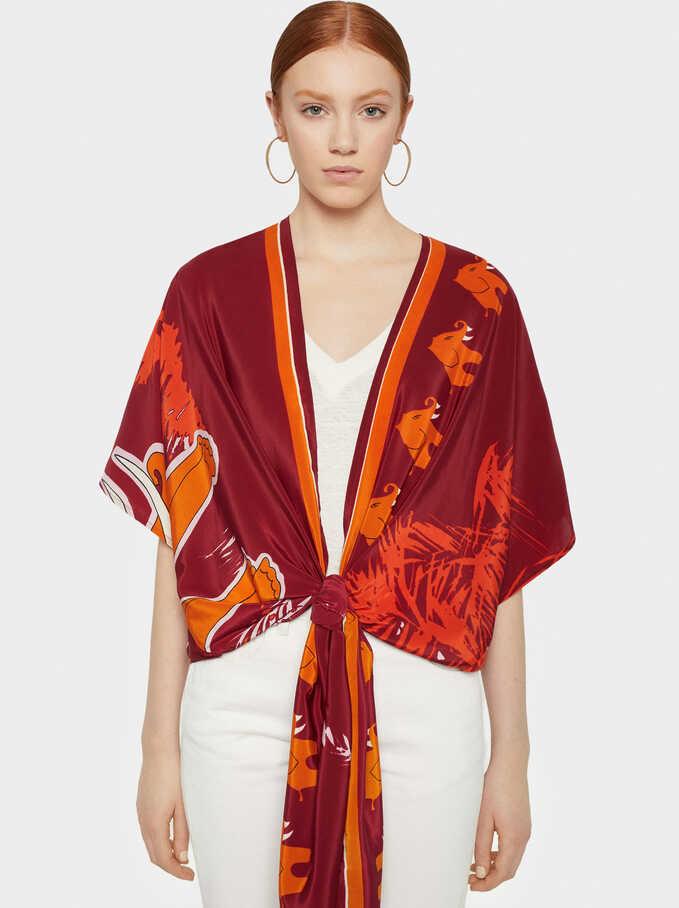 Elephant Print Kimono, Red, hi-res