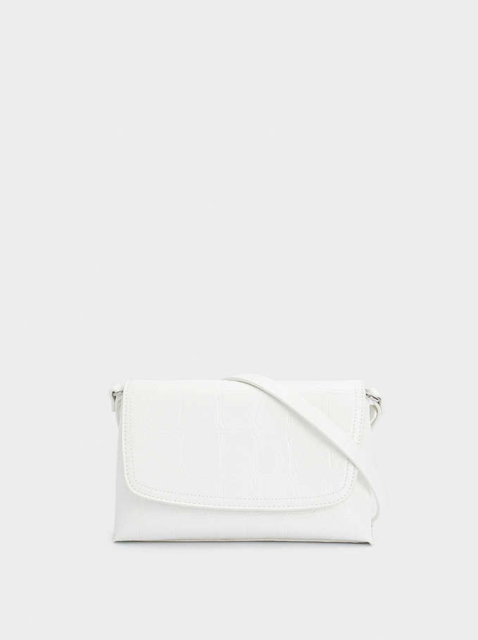 Embossed Animal Print Party Clutch, White, hi-res