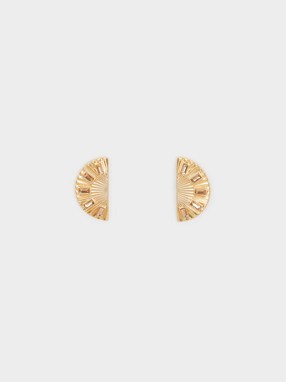 Creme Short Earrings, Camel, hi-res