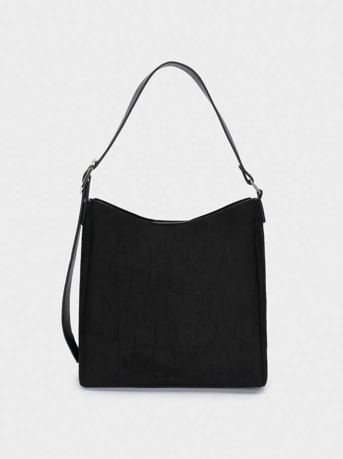 Faux Suede Shoulder Bag, Black, hi-res