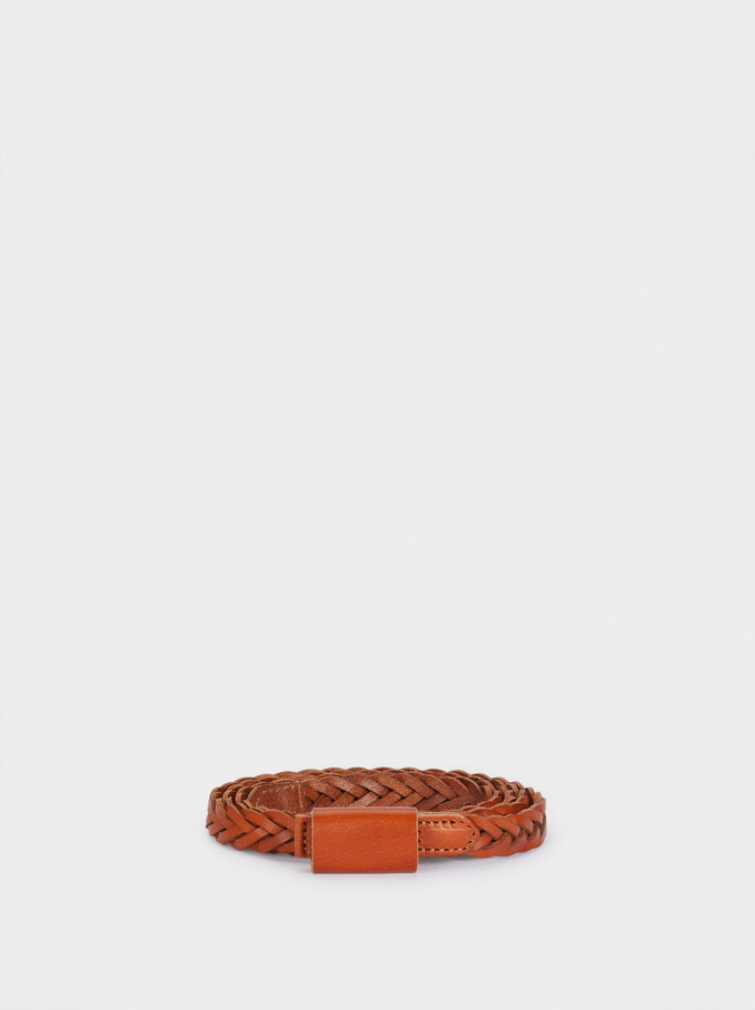 Braided Leather Belt, Camel, hi-res