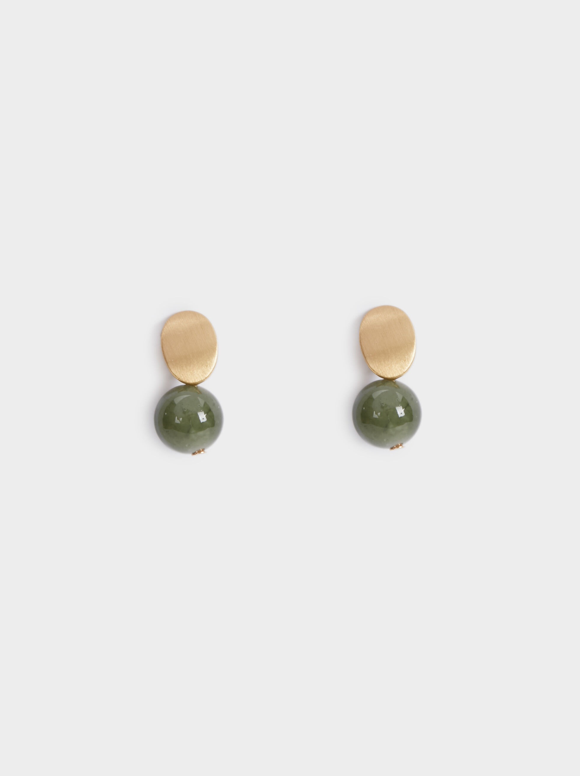 Stone Story Short Earrings With Sphere, Green, hi-res