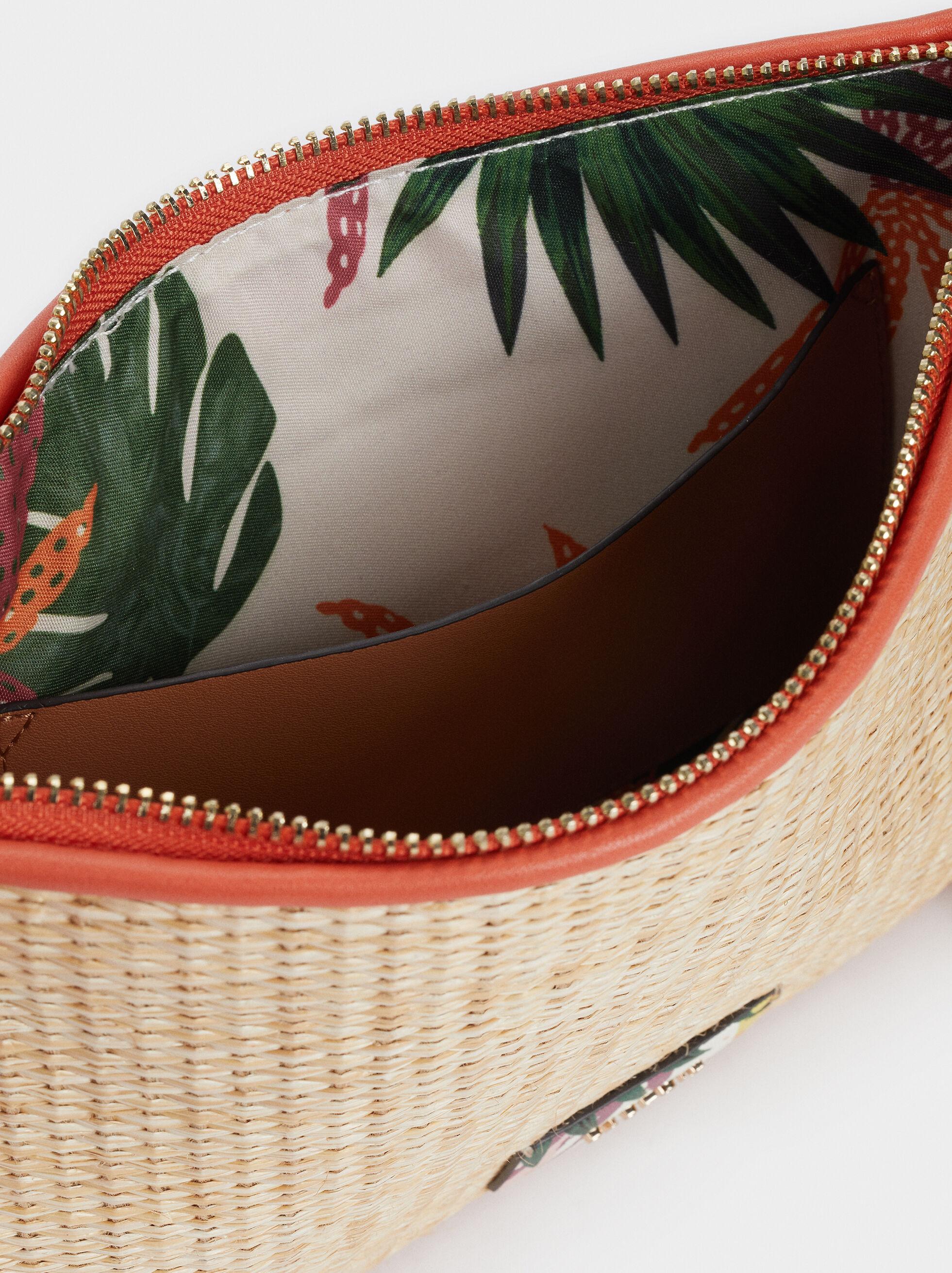 Floral Print Toiletry Bag, Beige, hi-res