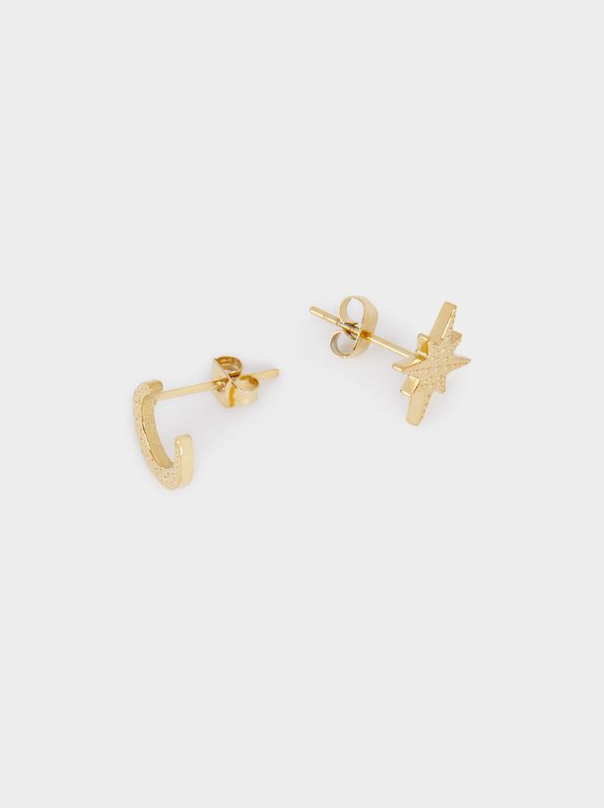 Short Steel Earrings, Golden, hi-res
