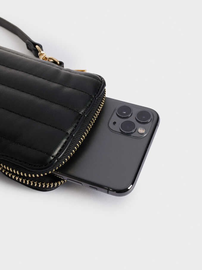Quilted Mobile Phone Case With Shoulder Strap, Black, hi-res