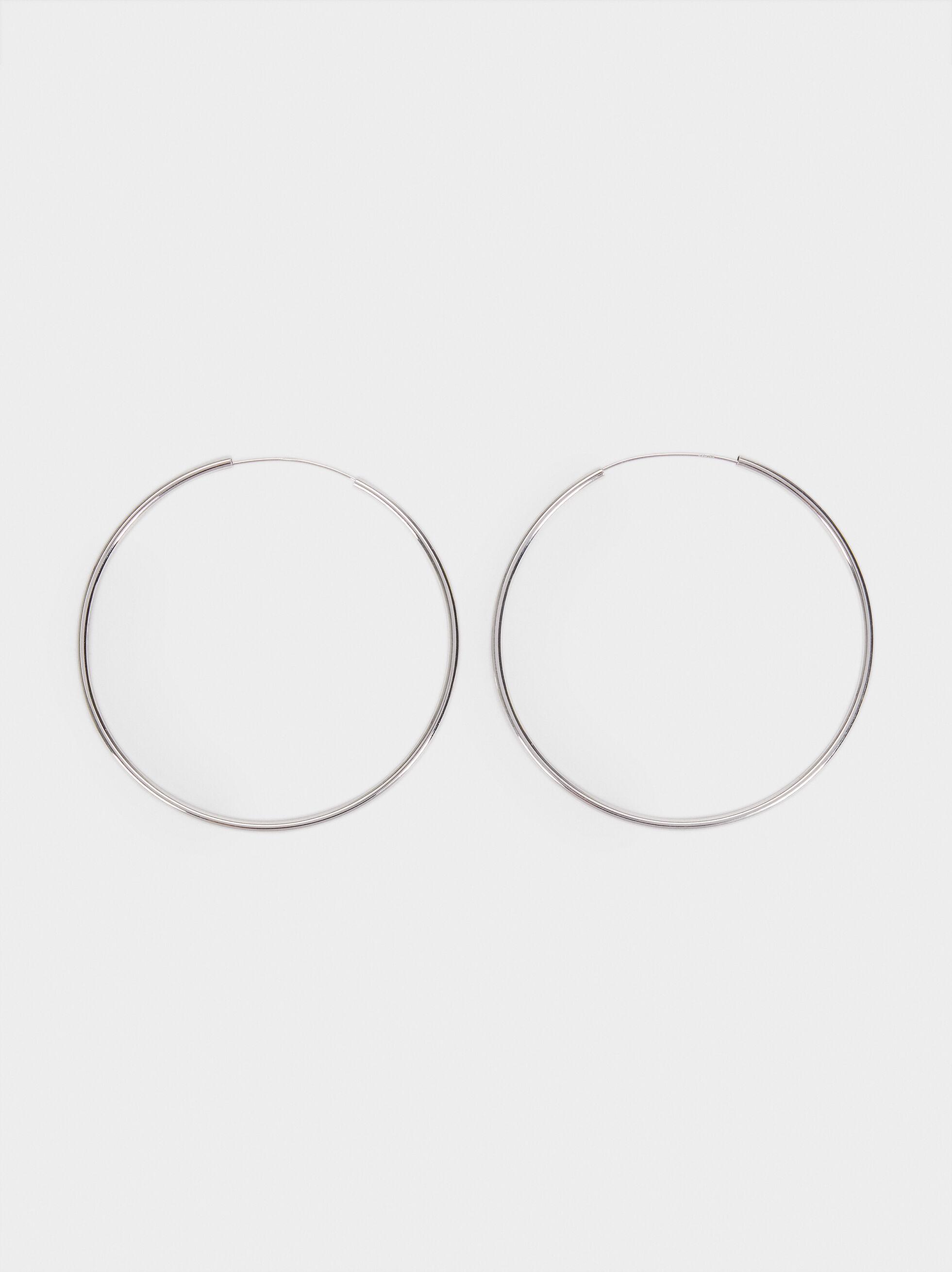 Basic 925 Silver Large Hoop Earrings, Silver, hi-res