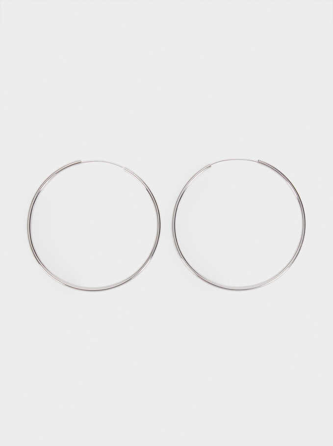 Basic 925 Silver Large Hoop Earrings, Silver, hi-res