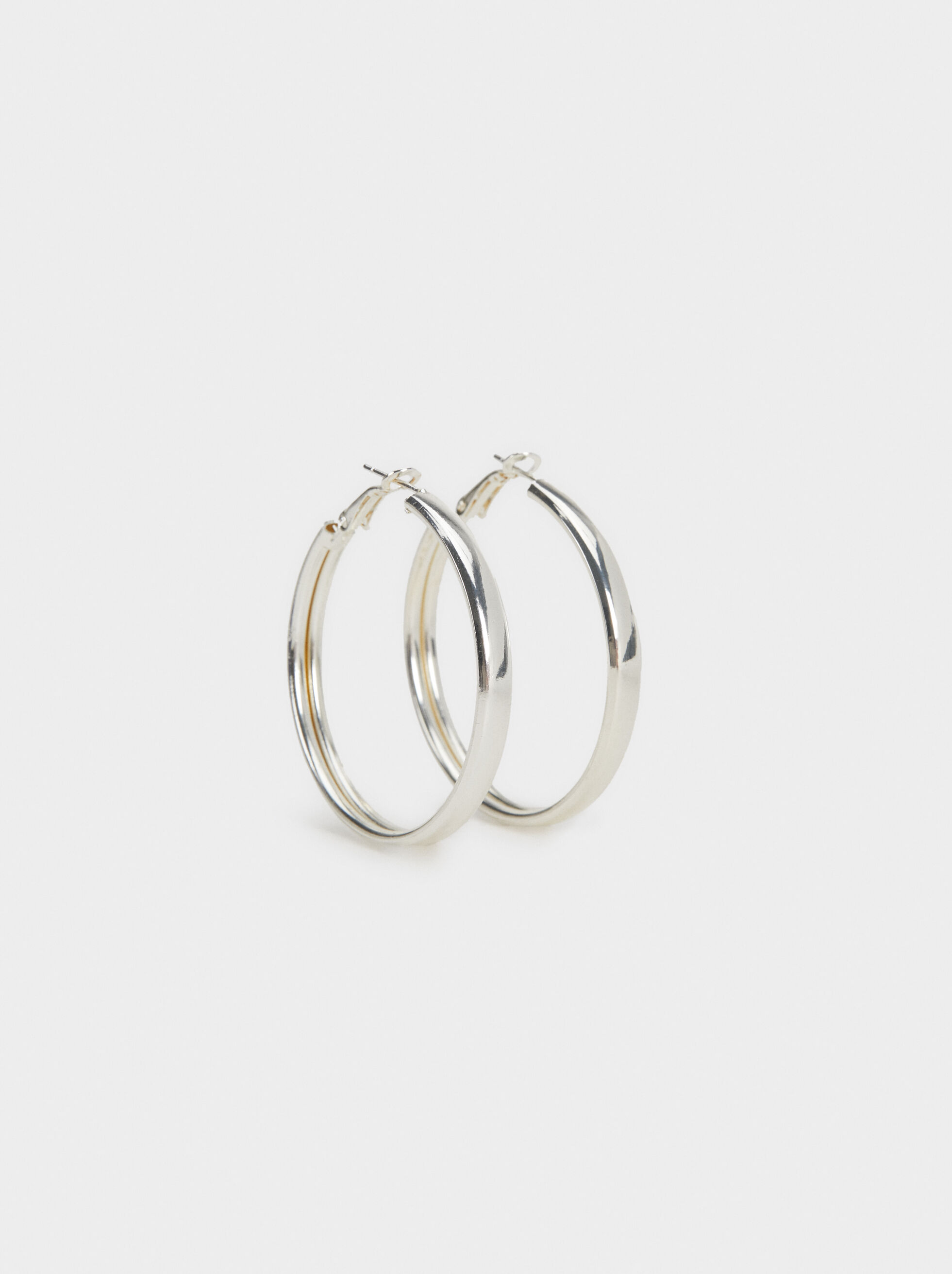 Basic Medium Hoop Earrings, Silver, hi-res