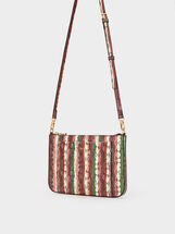 Shoulder Bag With Outer Pocket, Pink, hi-res