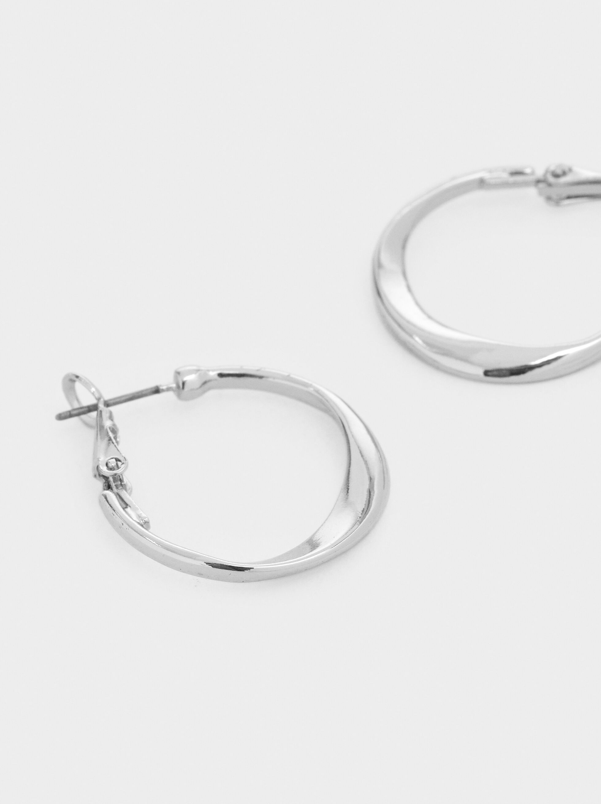 Basic Small Hoop Earrings, Silver, hi-res