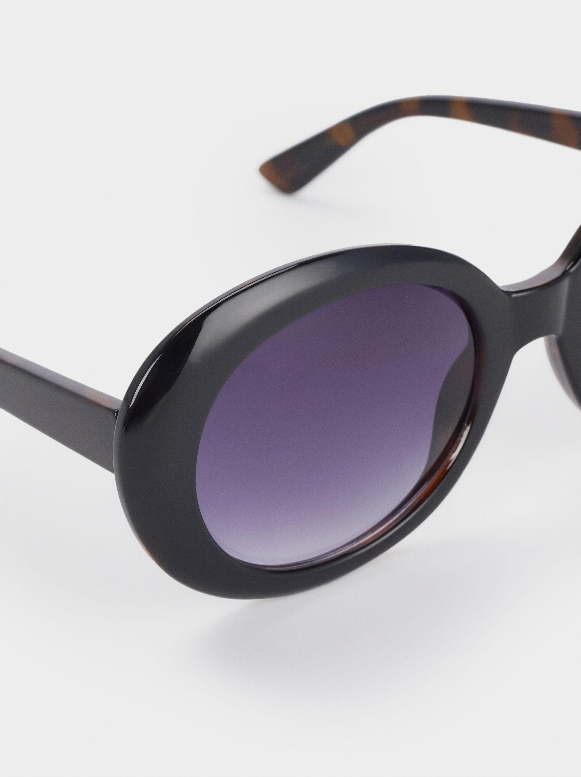 Oval Resin Sunglasses, Black, hi-res