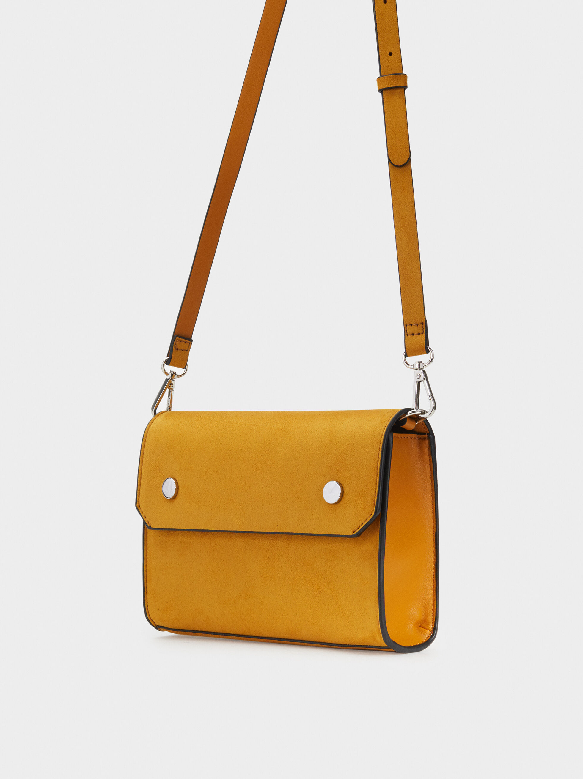 Suede Texture Shoulder Bag, Mustard, hi-res