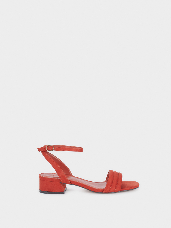 Low-Heel Sandals With Straps, Brick Red, hi-res