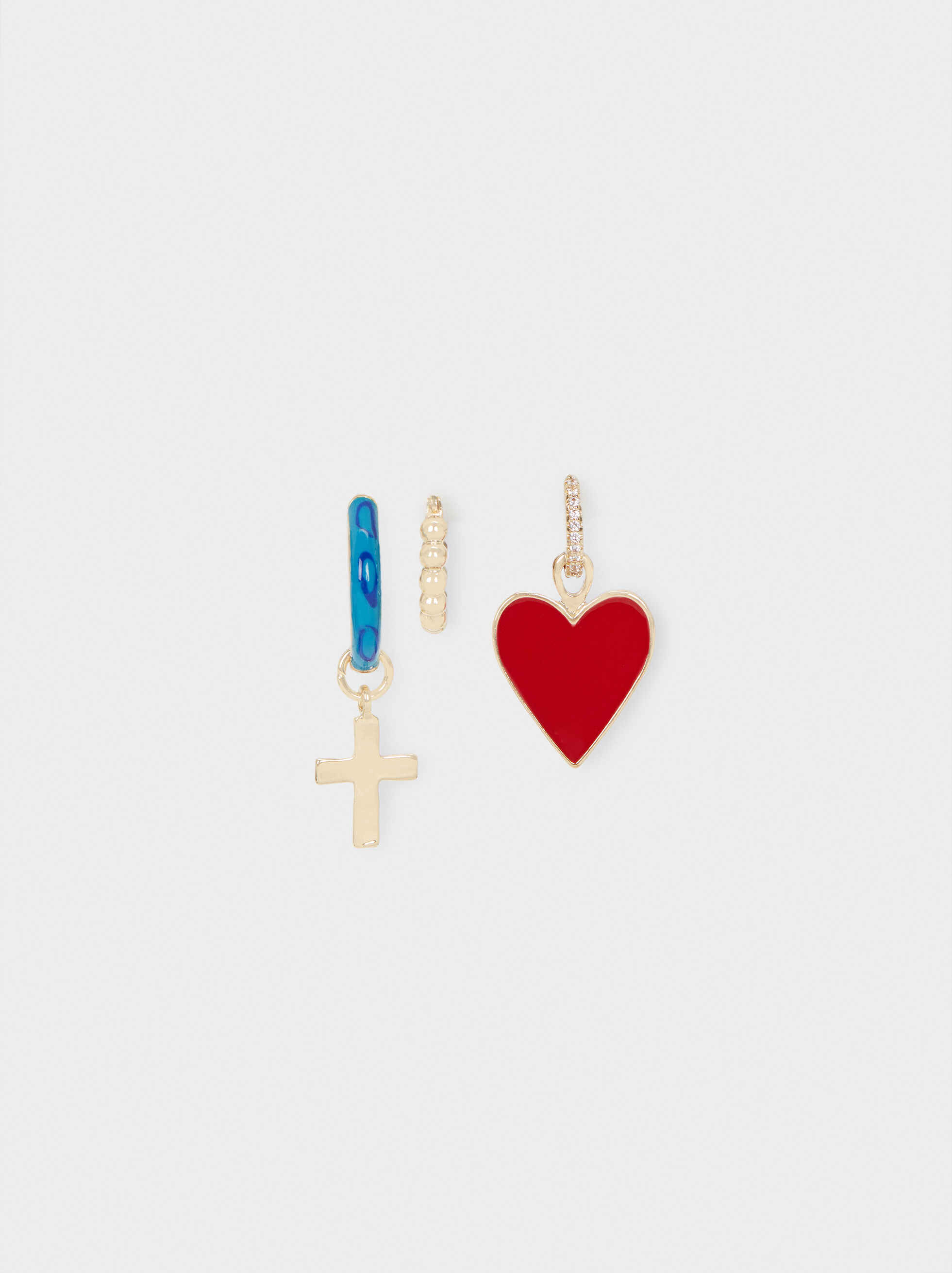 Set Of Small Hoop Earrings With Cross And Heart, Multicolor, hi-res