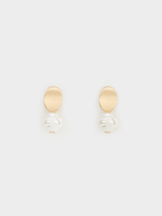 Stone Stud Earrings, White, hi-res