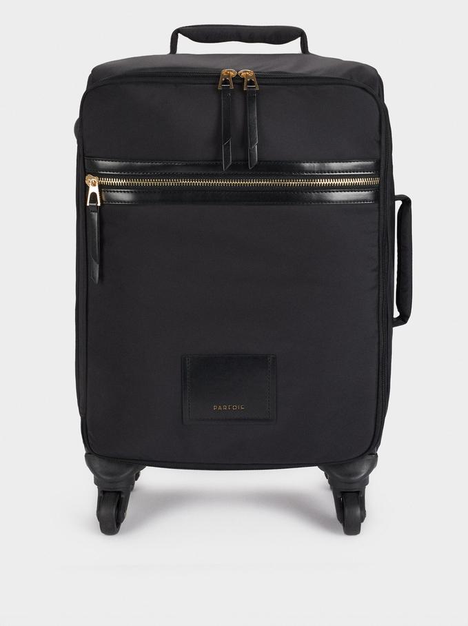 Nylon Suitcase, Black, hi-res