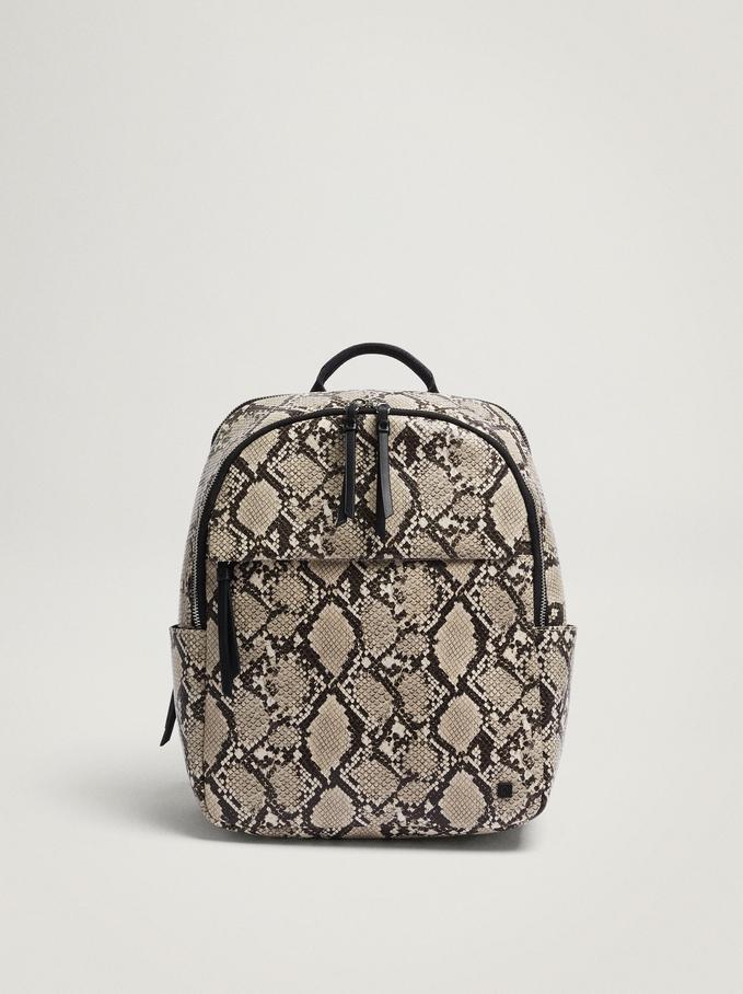 "Animal Embossed Backpack For 13"" Laptop, Beige, hi-res"