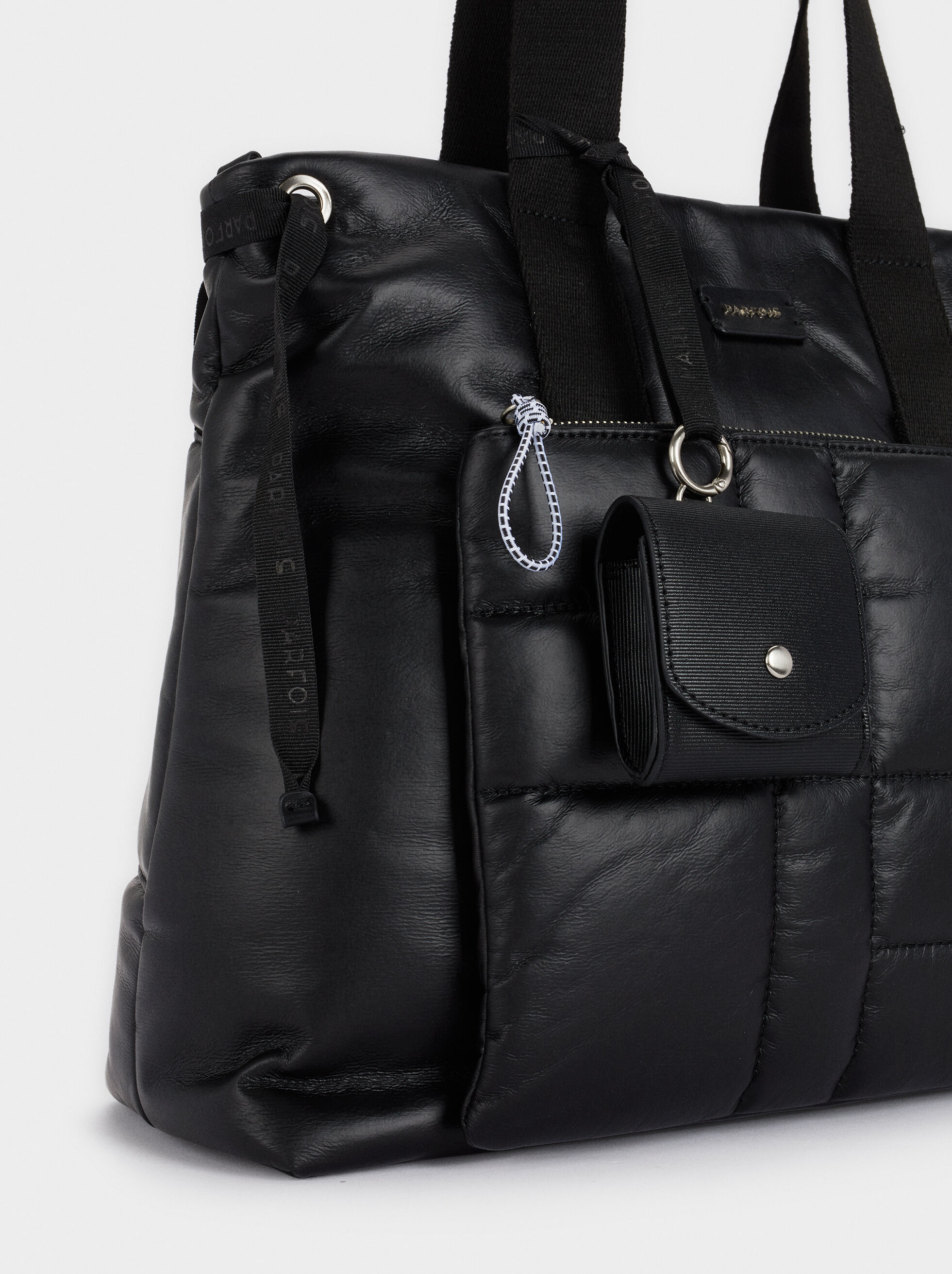 Bolso Shopper Acolchado Con Bolsillo Exterior, Negro, hi-res