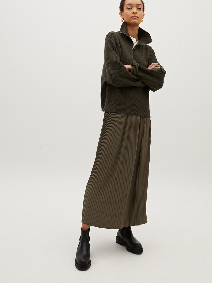 Pleated Skirt With An Elastic Waistband, Khaki, hi-res