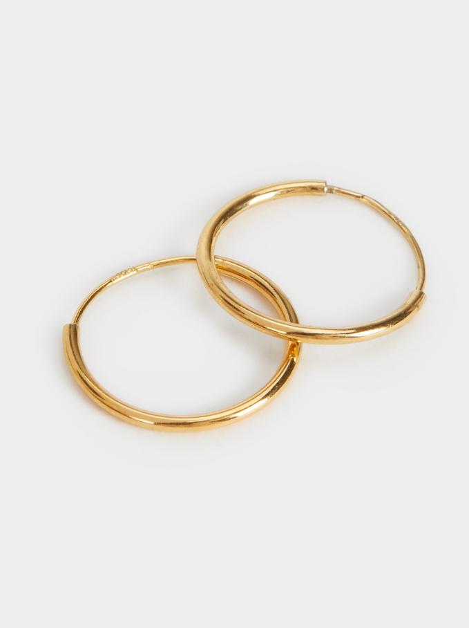 Short 925 Silver Hoop Earrings, Golden, hi-res