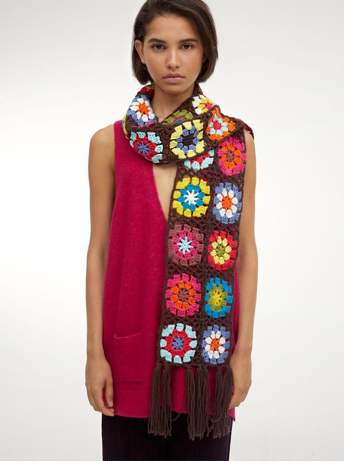Crochet Blanket Scarf, Multicolor, hi-res