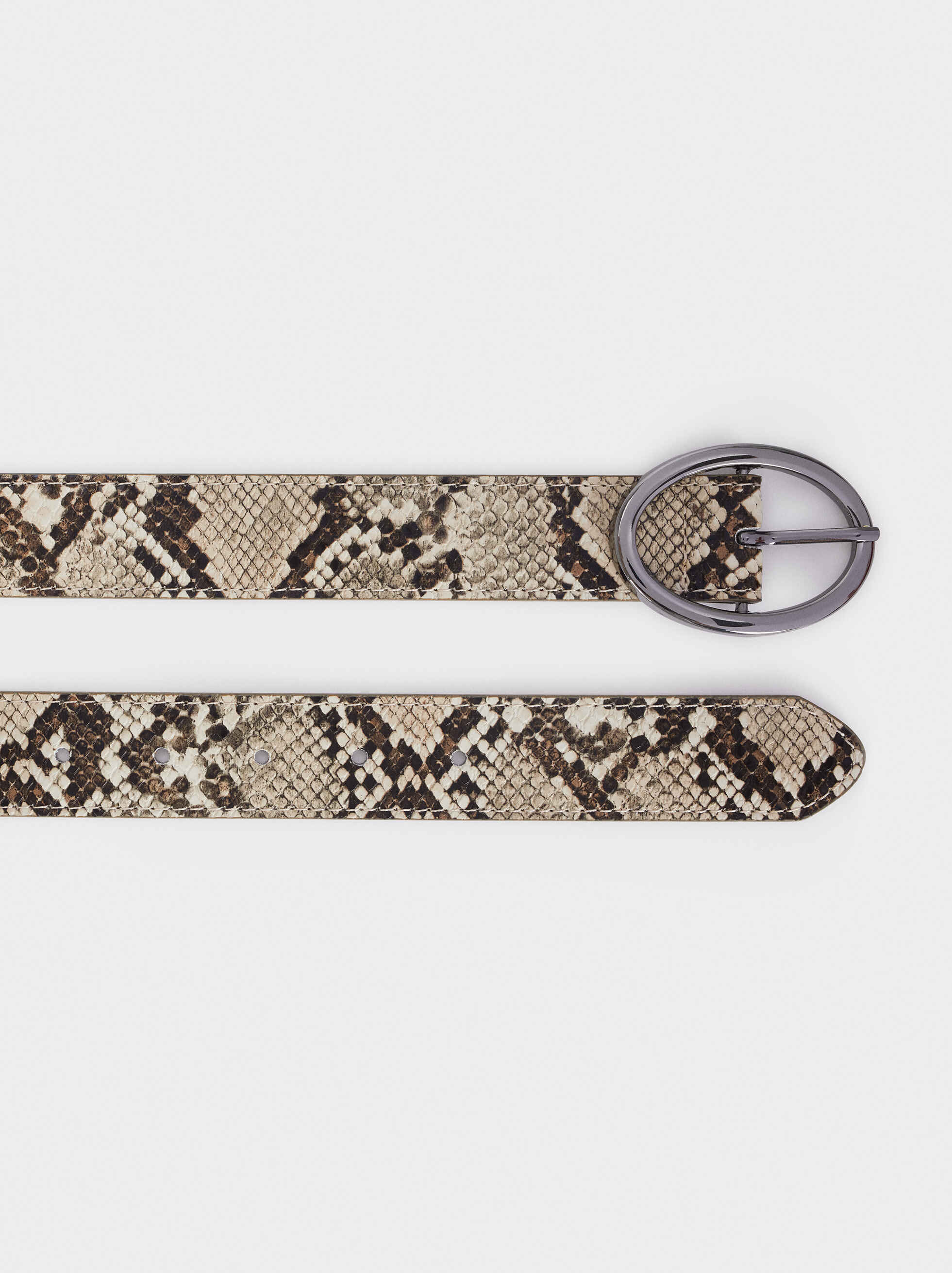 Embossed Animal Print Belt, Beige, hi-res