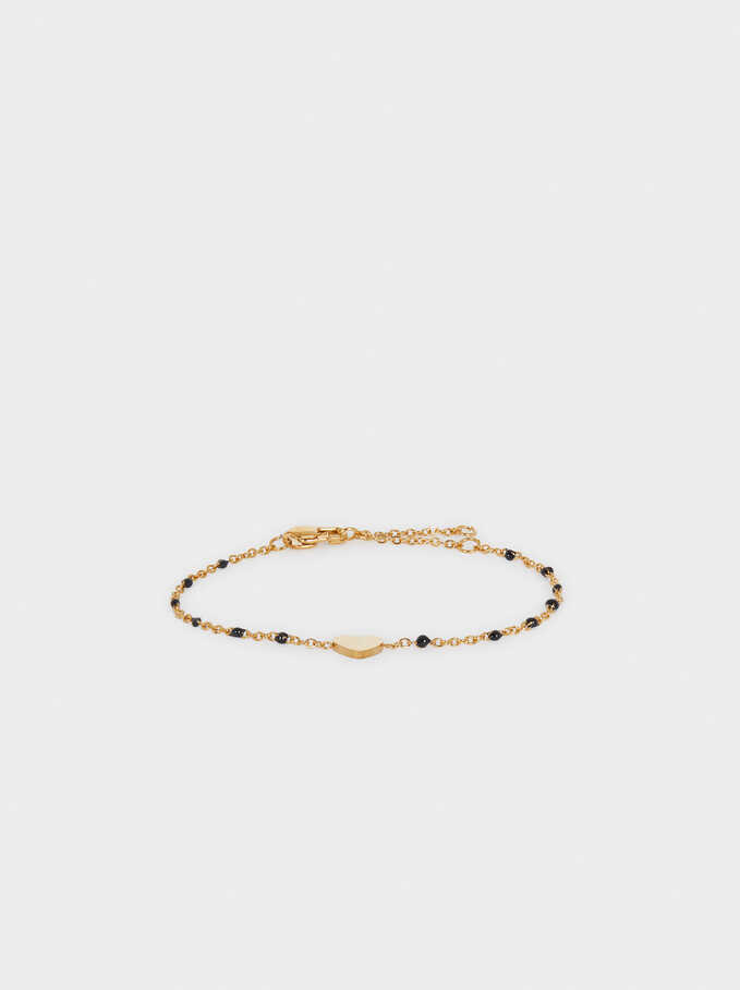 Stainless Steel Bracelet With Heart And Beads, Golden, hi-res