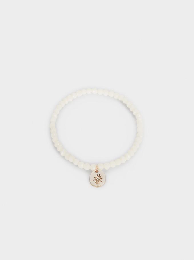 Elastic Bracelet With Beads And Medallion, Orange, hi-res