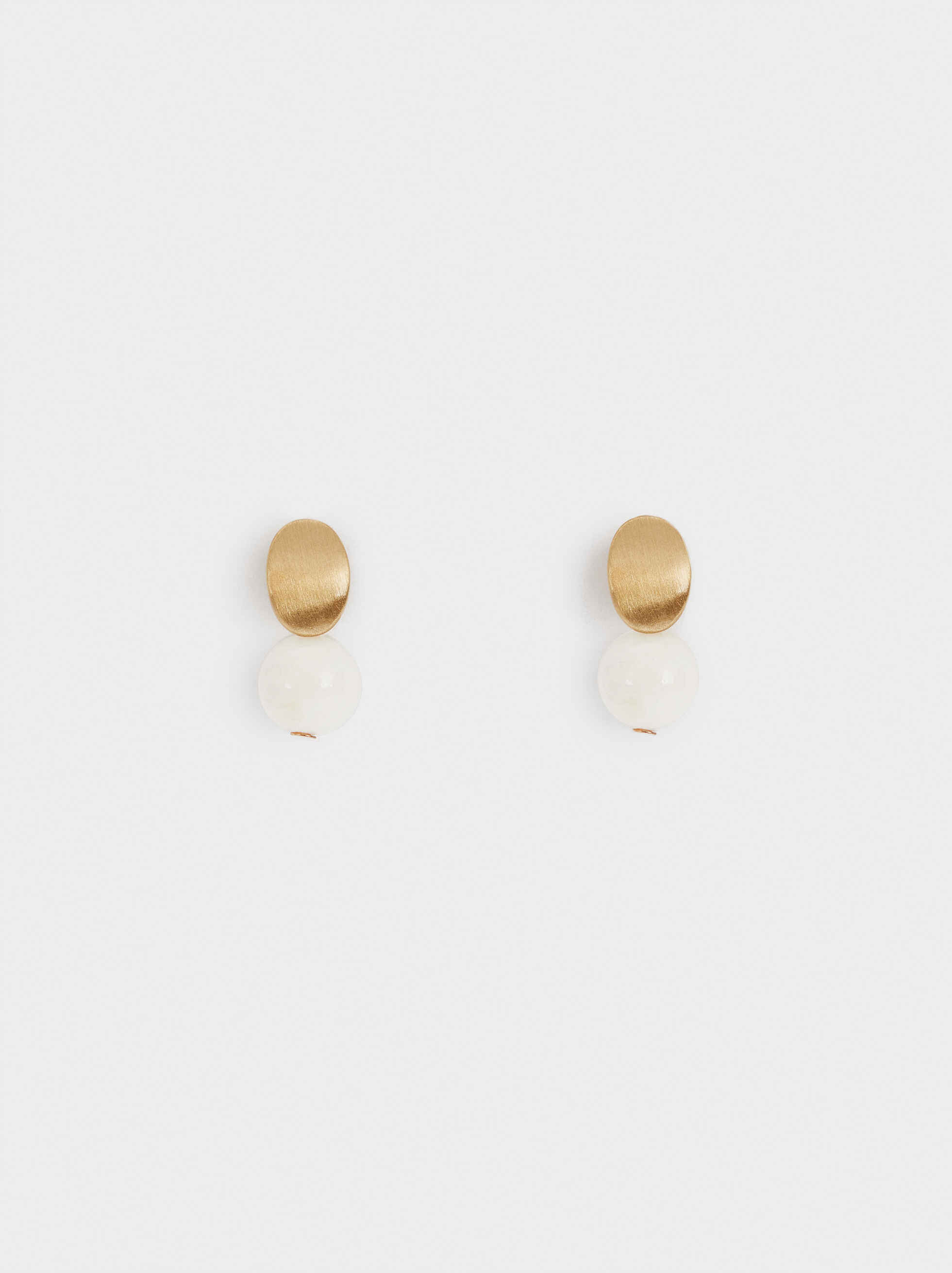 Short Circle Earrings, White, hi-res