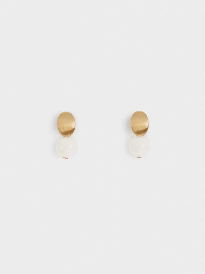 Short Circle Earrings, White, hi-res