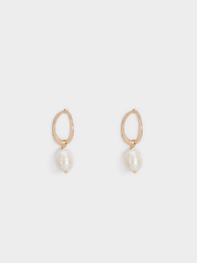Fancy Pearls Earrings, White, hi-res