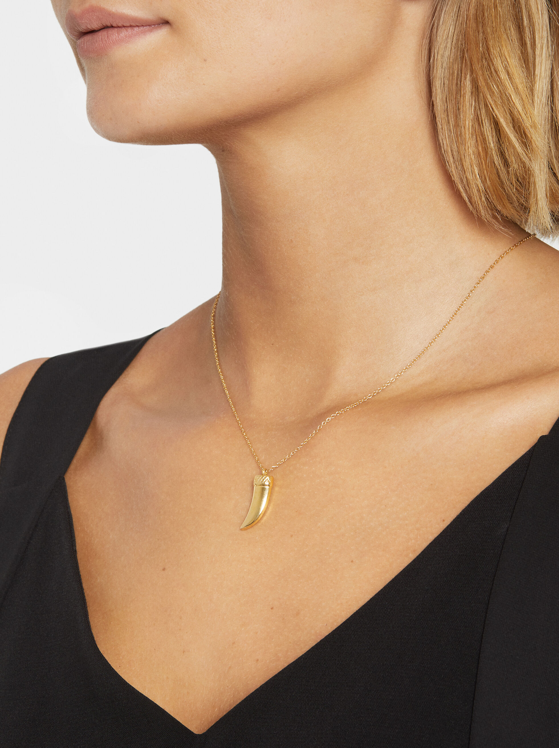 Long Steel Necklace With Pendant, Golden, hi-res