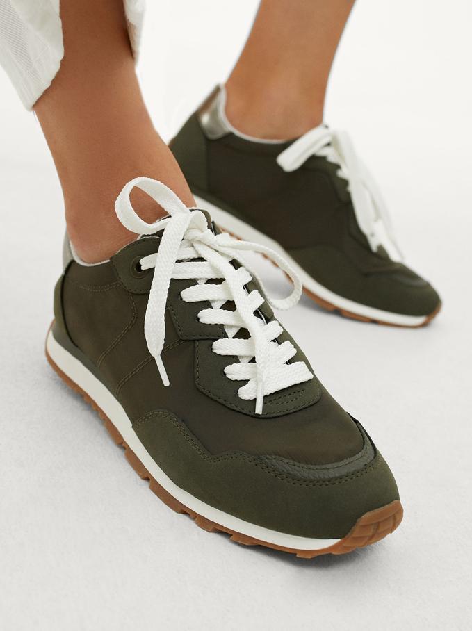 Contrasting Sneakers, Khaki, hi-res