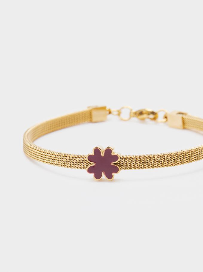 Stainless Steel Bracelet With Shamrock, Pink, hi-res