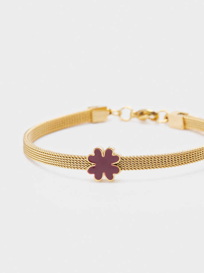 Stainless Steel Bracelet With Shamrock, Pink, hi-res