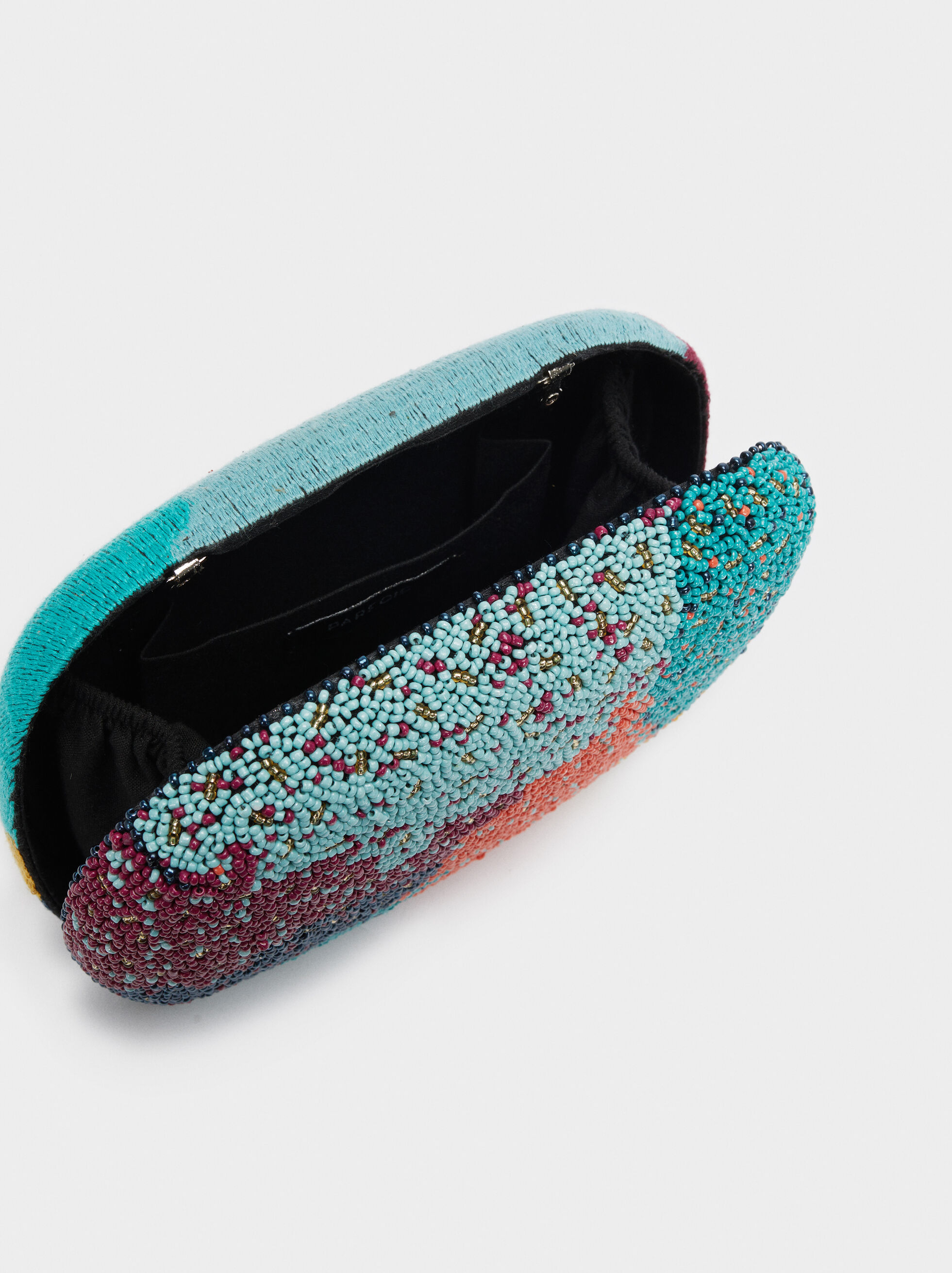 Multicoloured Beaded Party Clutch, Blue, hi-res