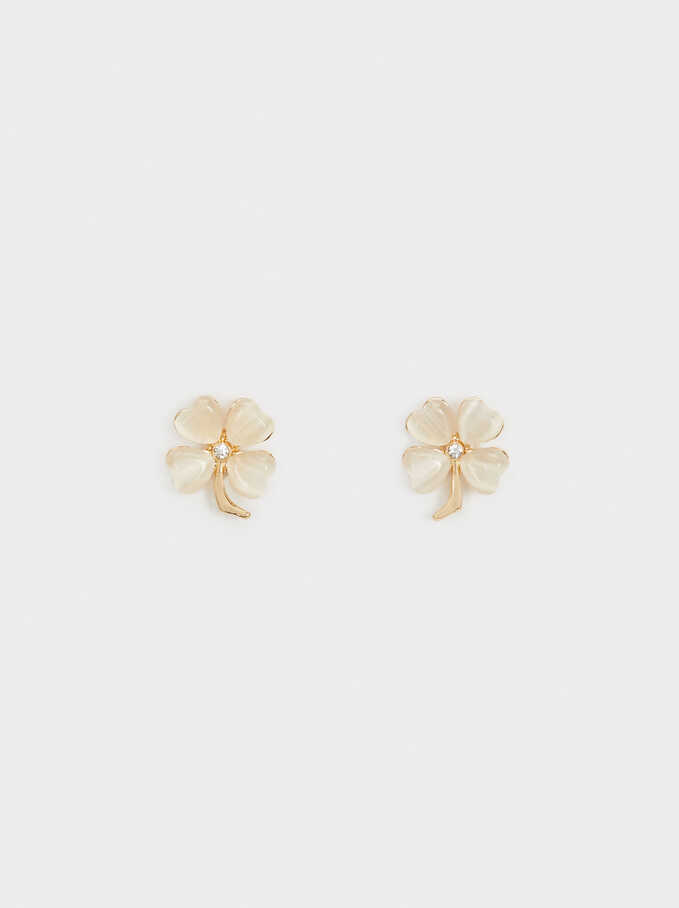 Small Gold Earrings With Clover And Crystals, Golden, hi-res