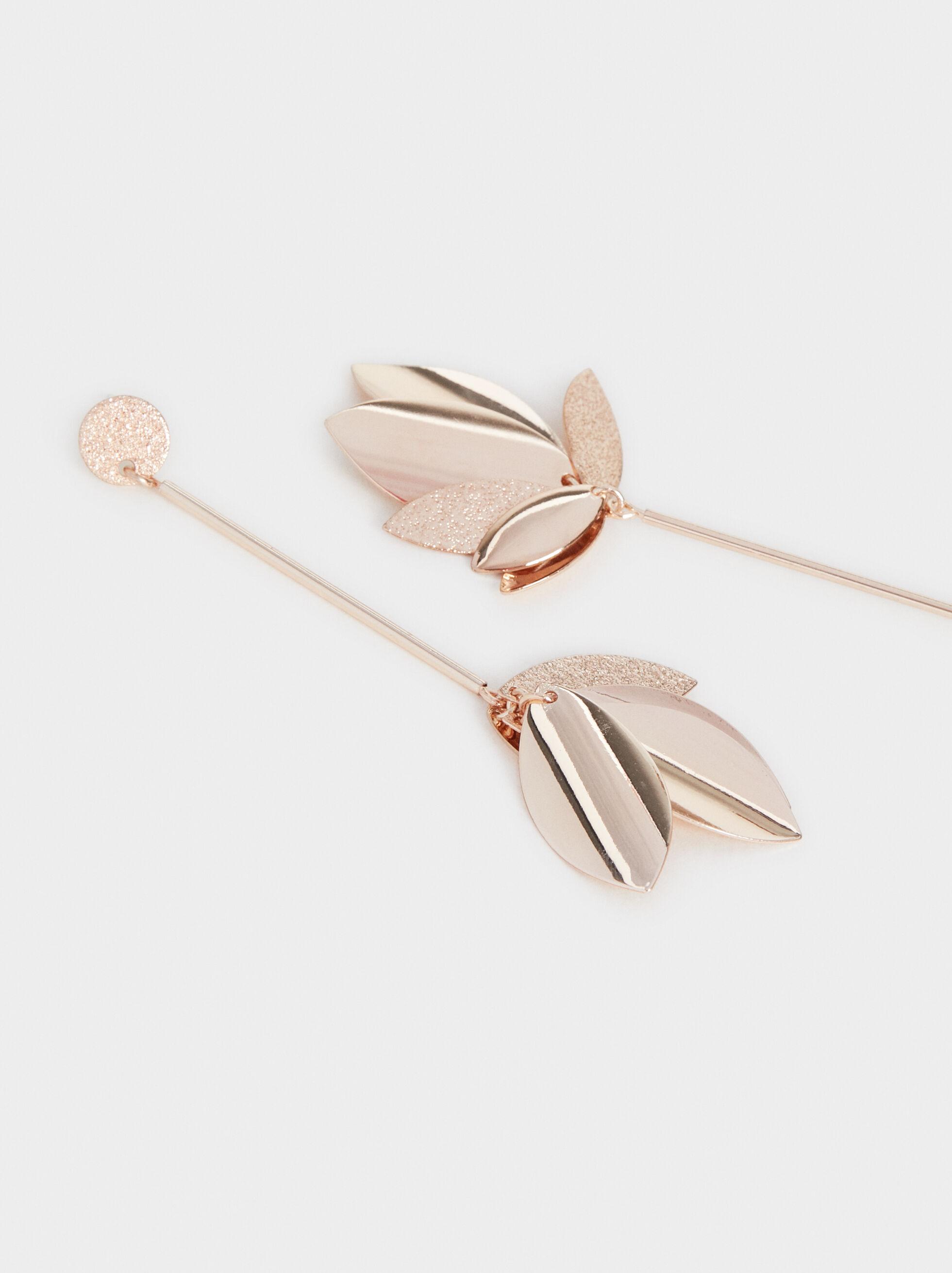 Pink Desert Long Earrings With Leaves, Orange, hi-res