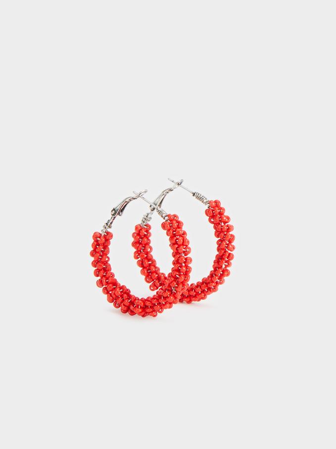 Strawberry Fields Medium Beaded Hoop Earrings, Red, hi-res